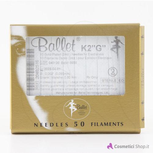 """Immagine di Ago per elettrodepilazione K2 """"G"""" Oro 24 ct Ballet"""